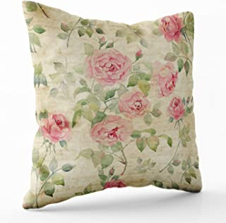 Crannel Double-Sided Printing Pillowcase 16X16 Inch Throwing Cushion Floral Pattern Pink Roses Vintage Background Watercolor Invisible Zipper Square Decorative Home Sofa