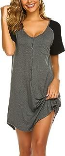 Womens Nightshirt V Neck Boyfriend Sleepwear Shirts Loose Sleeve Button Sleep Tee S-XXL