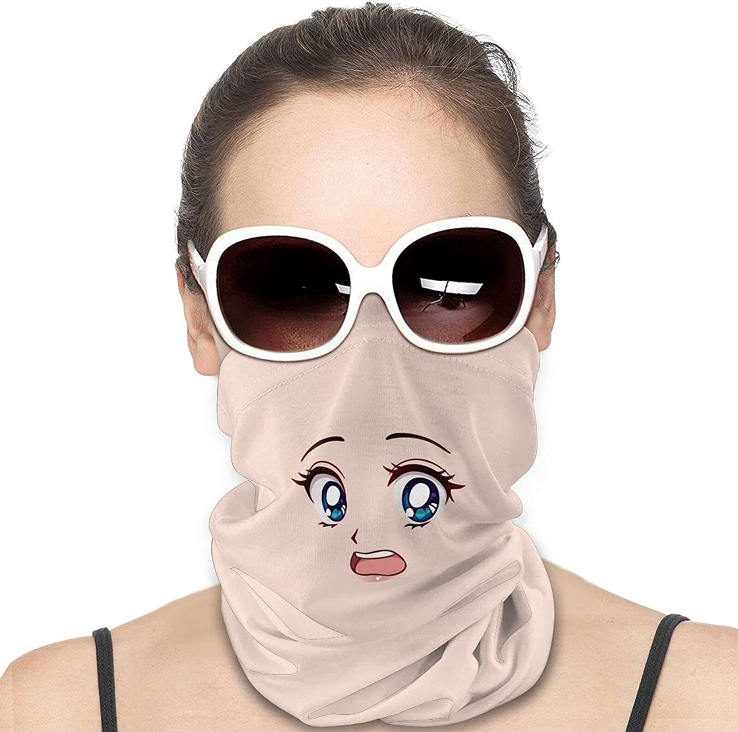 Anime Face Round Neck Gaiter Bandnas Face Cover Uv Protection Prevent bask in Ice Scarf Headbands Perfect for Motorcycle Cycling Running Festival Raves Outdoors