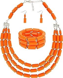 Fashion Handmade Bead Multilayer Statement Necklace Bracelet Earrings Jewelry Set