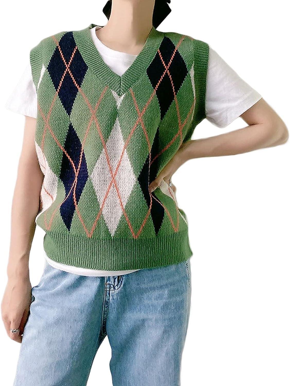 Womens Oversized V Neck Sleeveless Sweater Vest Preppy Style Argyle Plaid Knitwear Pullover Top Streetwear