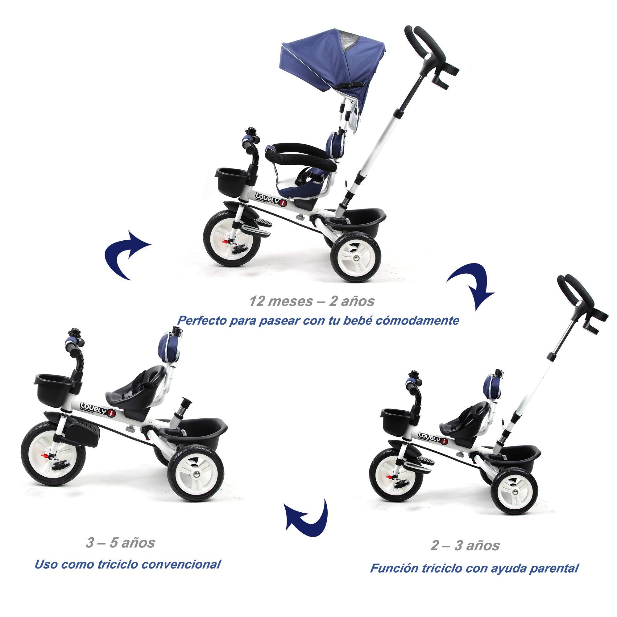 HOMCOM Triciclo Bebé Plegable 4 en 1 Trolley Trike Bicicletas para ...