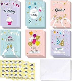 48 Tarjetas de feliz cumpleaños, Ohuhu Tarjeta doblada para niños, Notas de felicitación en blanco/Sobres blancos y calcomanías, 4x6 pulgadas / 10x15cm, Globos, Pastel, Rosa, Púrpura, color Azul