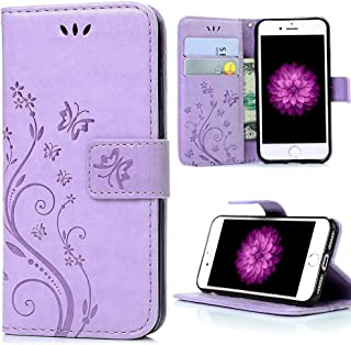 iPhone XR Case,iPhone XR Wallet Case,LW-Shop for iPhone XR PU Leather Case [Built-in Credit Card Slots] Magnetic Design Flip Folio Leather Cover Flower Butterfly Case (6.1 Inch) Light Purple