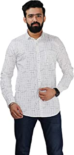 Color Play Men's Pure Cotton Slim Fit Coudroy Abstract Print Casual Full Sleeves Shirt