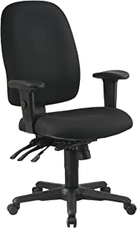 Office Star Multi Function Ergonomic Chair with Ratchet Back Height Adjustment and Adjustable Soft Padded Arms, Black