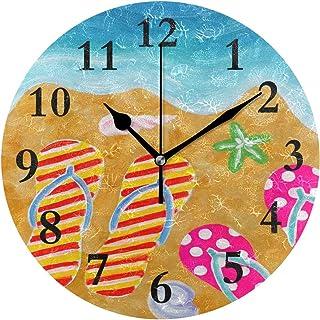 Amazon.com: FunnyCustom Round Wall Clock Summer Flip Flops Sun Acrylic Creative Decorative for Living Room/Kitchen/Bedroom/Family: Home & Kitchen