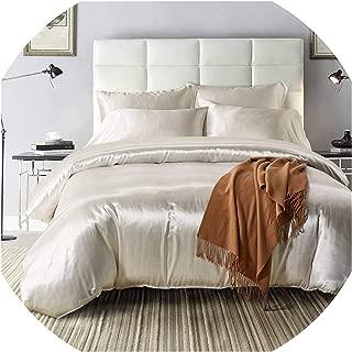 The fairy 2Pcs/3Pcs/4Pcs Nordic Style Silk Bedding Set Queen Size Satin Grey Duvet Cover Solid Color Set Simple Beautiful Bedclothes,06,1Pcspillowcase-Us S