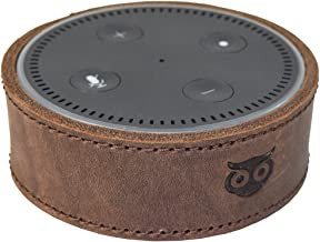 Hide & Drink, Alexa Case, Echo Dot 2nd Gen Case, Handmade Leather Protective Cover, Attractive Rustic Decor :: Bourbon Brown