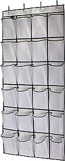 Excefore 24 Pockets Over the Door Shoe Organizer Hanging Shelf Shoe Rack Storage Stand Organiser Holder Hook,White