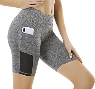 ICBAL High Waist Yoga Shorts Running Compression Sports Leggings Biker Athletic Spandex Tights with Pocket