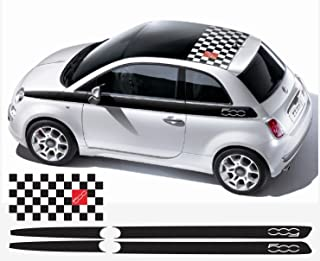 Fiat 500 side decal and roof decal V.2 ('500' models with sunroof) 3 pcs. Set (black-red)