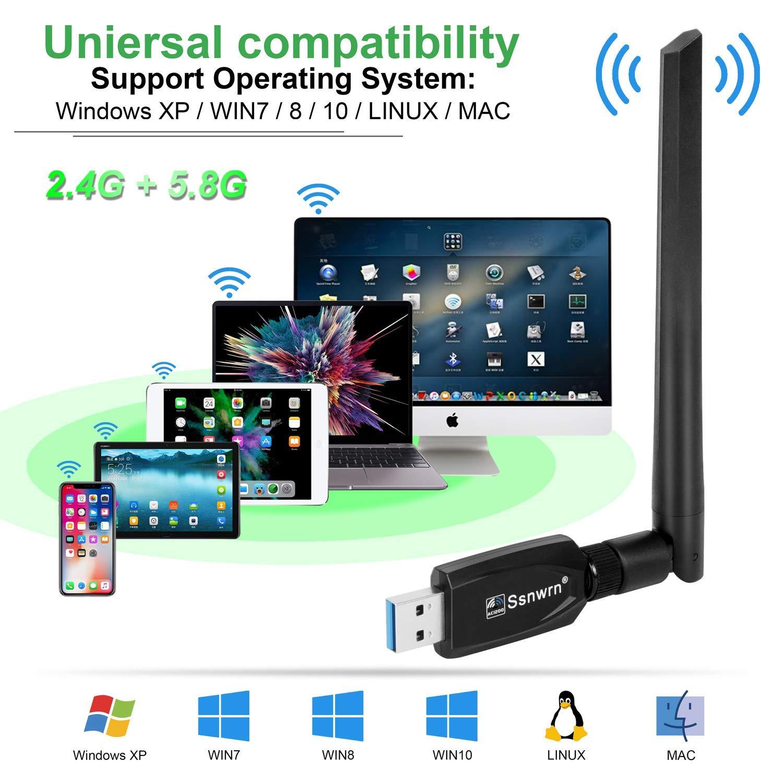 ZHENREN Cl/é USB WiFi Adaptateur USB WLAN Amplificateur pour PC 1200 Mbit//s Double antenne 2,4//5,8 GHz Antenne haute vitesse 5 dBi USB 3.0 Adaptateur r/éseau sans fil