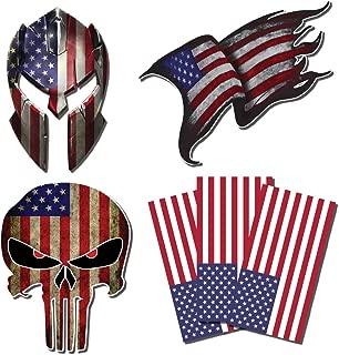 6 American Flag Punisher Skull Molon Labe Spartan Helmet Subdued USA 3M Vinyl Decal Sticker