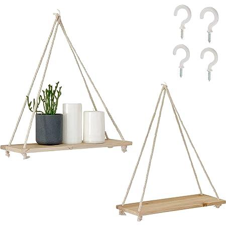 Hanging Shelves for Wall [Set of 2 w/ Hooks] Wooden Shelf & Macrame Rope, Natural Light Reclaimed Wood Swing Triangle Floating, Modern Boho Decor, Plant, Living Room, Bedroom, Bathroom, Dorm, Window