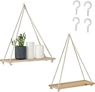 BASE ROOTS Handcrafted Wooden Wall Shelf Set | Pine Wood Hanging Shelves & Natural Twisted Cotton Rope | These Wooden Shelves Make Beautiful Modern Farmhouse Decor | 16 x 5 x 0.5 Inches, Set of 2