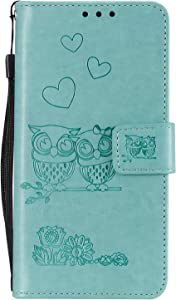 Miagon for Huawei Mate Lite Case Embossed Owl Flower Heart Pattern Leather Wallet Stand Flip Cover with Card Slots Magnetic Closure