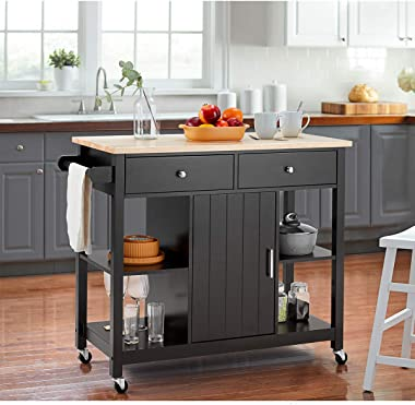 MELLCOM Rolling Kitchen Island Cart with Large Drawers, Towel Rack, Compartment Cabinets, Open Storage Shelves, Kitchen Islan