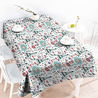 Onefzc Custom Tablecloth,Eiffel Retro Colored Cheerful Composition with Floral Figures Cupcakes and Je`Taime Print,Resistant/Spill-Proof/Waterproof Table Cover,W54x72L Multicolor