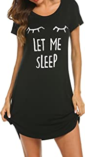 e56d2b9e9d HOTOUCH Sleepwear Women s Nightgown Cotton Sleep Shirt Printed Short Sleeve  Scoopneck Sleep Tee Nightshirt ...