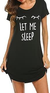 Night Shirt Women's Print Sleepwear Cute Short Sleeve Sleep Shirts Cotton Nightgown..