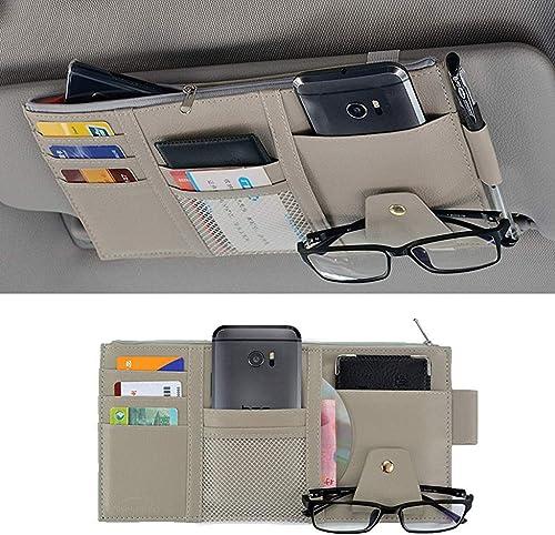 STHIRA® PU Leather Multi-Function Car Space Sun Visor Organizer Hanging Phone Storage Pouch Holde (Grey)