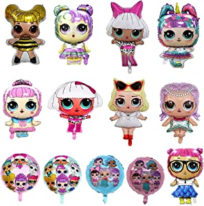 CLEVER WAREHOUSE 13 Pack LOL Party's Balloons, Girls Birthday Doll Balloons Decorations For Children's Party Supplies