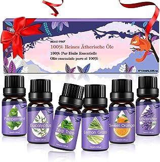 Ätherische Öle Set, Duftöle für Diffuser und Aromatherapie, 100% Reines naturrein Aroma-Öl, 6 Verschiedene Aromen - Lavendel, Teebaum, Eukalyptus, Zitronengras, süße Orange, Pfefferminze