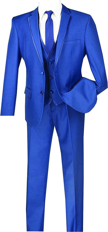 VINCI Men's 2 Button Single Breasted Slim Fit Fashion Suit W/Vest SV2T-8
