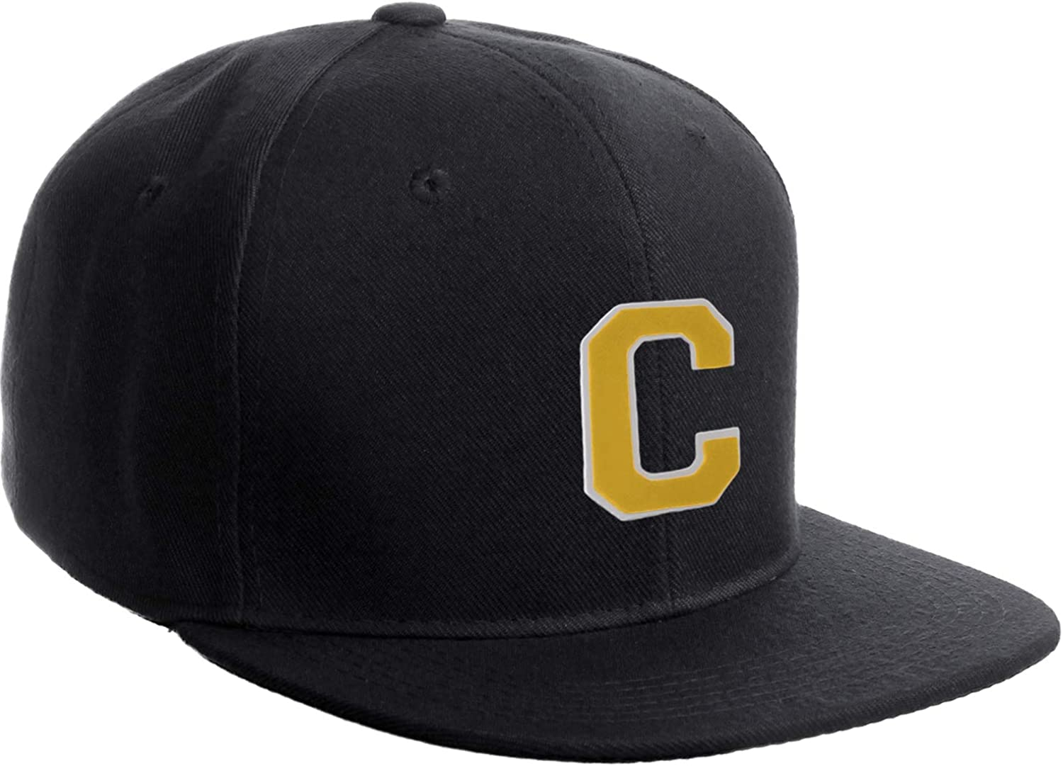 Classic Snapback Hat Custom A to Z Initial Raised Letters, Black Cap White Gold