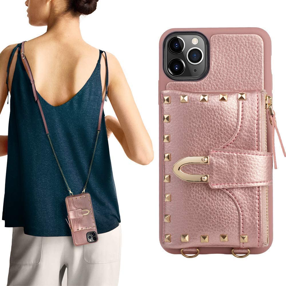 iPhone 11 Pro Max Wallet Case,ZVE iPhone 11 Pro Max Rivet Case with Credit Card Holder Slot Crossbody Case with Wrist Strap Protective Case Cover for Apple iPhone 11 Pro Max, 6.5 inch - Rose Gold