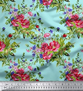 Sold By The 1 Metre Length Fabric Colourful Printed Glitter Effect Velour Floral Pattern Purple Upholstery Fabric