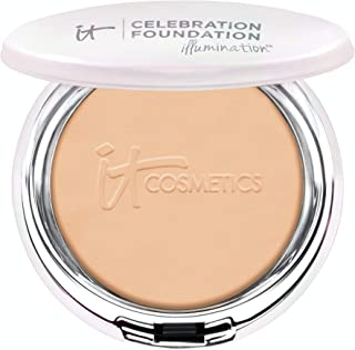 IT Cosmetics Celebration Foundation Illumination, Medium Tan (W) - Full-Coverage, Anti-Aging Powder Foundation - Blurs Pores, Wrinkles & Imperfections - 0.3 oz Compact