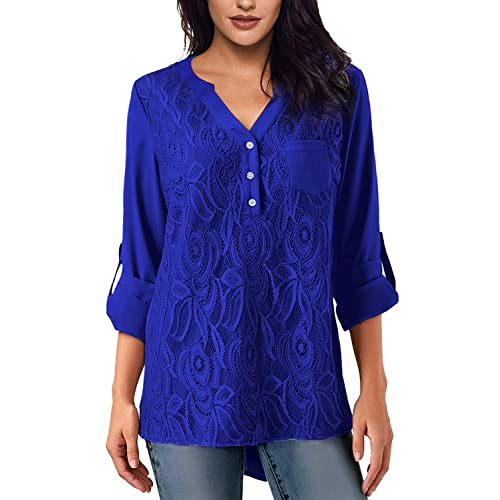 19cf359e69774 Jevole Womens Casual Long Sleeve Solid Cuffed Button Floral Lace Chiffon Blouses  Top