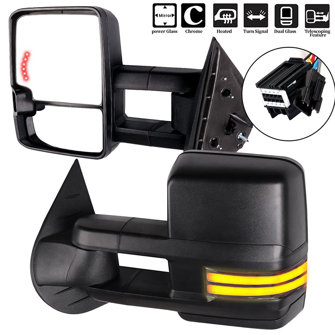 For Chevy GMC Towing Mirrors with Running Lights Black Rear View Mirrors for Silverado Sierra 2008-2013 (07 New Body Style) with Reverse and Clearance Lights Arrow Turn Signal Power Control and Heated