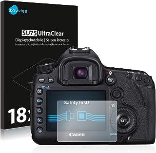 savvies Protector Pantalla Compatible con Canon EOS 5D Mark III (18 Unidades) Pelicula Ultra Transparente