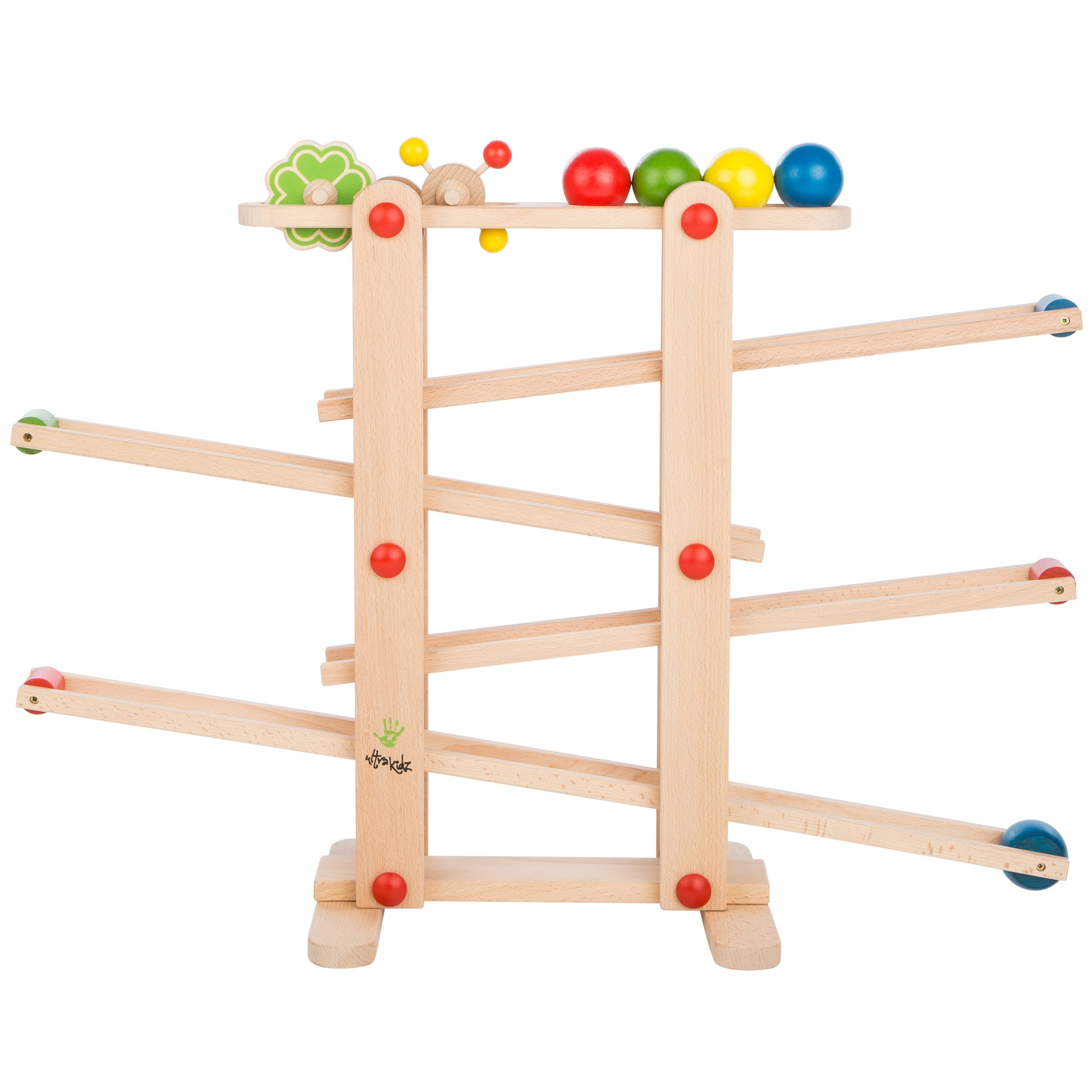 Ultrakidz Natural Wood Ball Run Schwubs with 4 balls and rolling toys