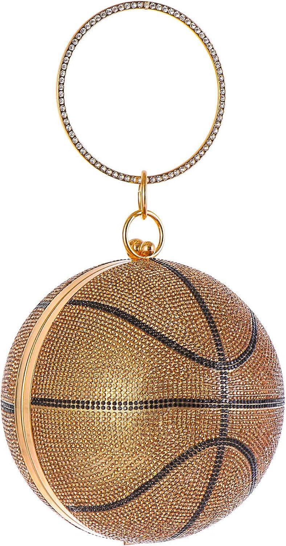 Rhinestone Basketball Evening Bag Round Glitter Clutch Purse Party HandBags