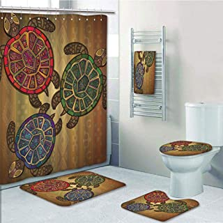 Bathroom 5 Piece Set Shower Curtain 3D Print,Turtle,Three Ocean Turtles Ethic Style Animals Geometric Vibrant Ocean Theme Artwork Print,Multicolor,Bath Mat,Bathroom Carpet Rug,Non-Slip,Bath Towls
