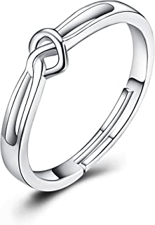 PEIMKO 925 Sterling Silver Open Heart Ring Adjustable Heart Knot Ring Jewelry for Girls Women