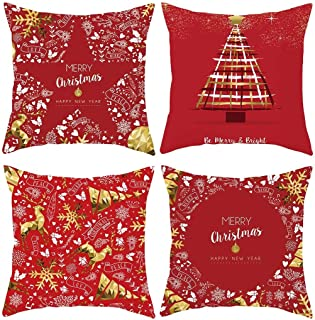 TOPBIGGER Set of 4 Pillow Covers, Merry Christmas Decorative Pillowcases Christmas Elk Santa Claus Throw Pillow Cover Thanksgiving Pillow Covers Soft Cushion Cover 18 x 18 Inch