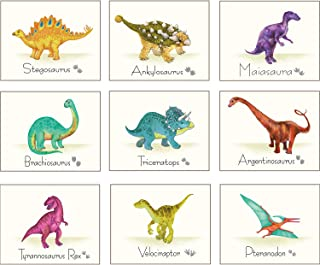 Outus 9 Pieces Dinosaur Wall Art Prints Dinosaurs Poster Wall Decals with Unframed Pictures Dinosaur Birthday Gift for Nursery and Kids Room Decorations