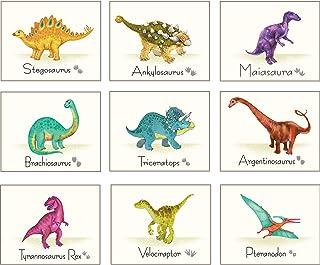 Outus 9 Pièces Estampe d'Art de Mur de Dinosaure Affiche de Dinosaures Autocollants de Mur avec Photos sans Cadre Cadeau ...