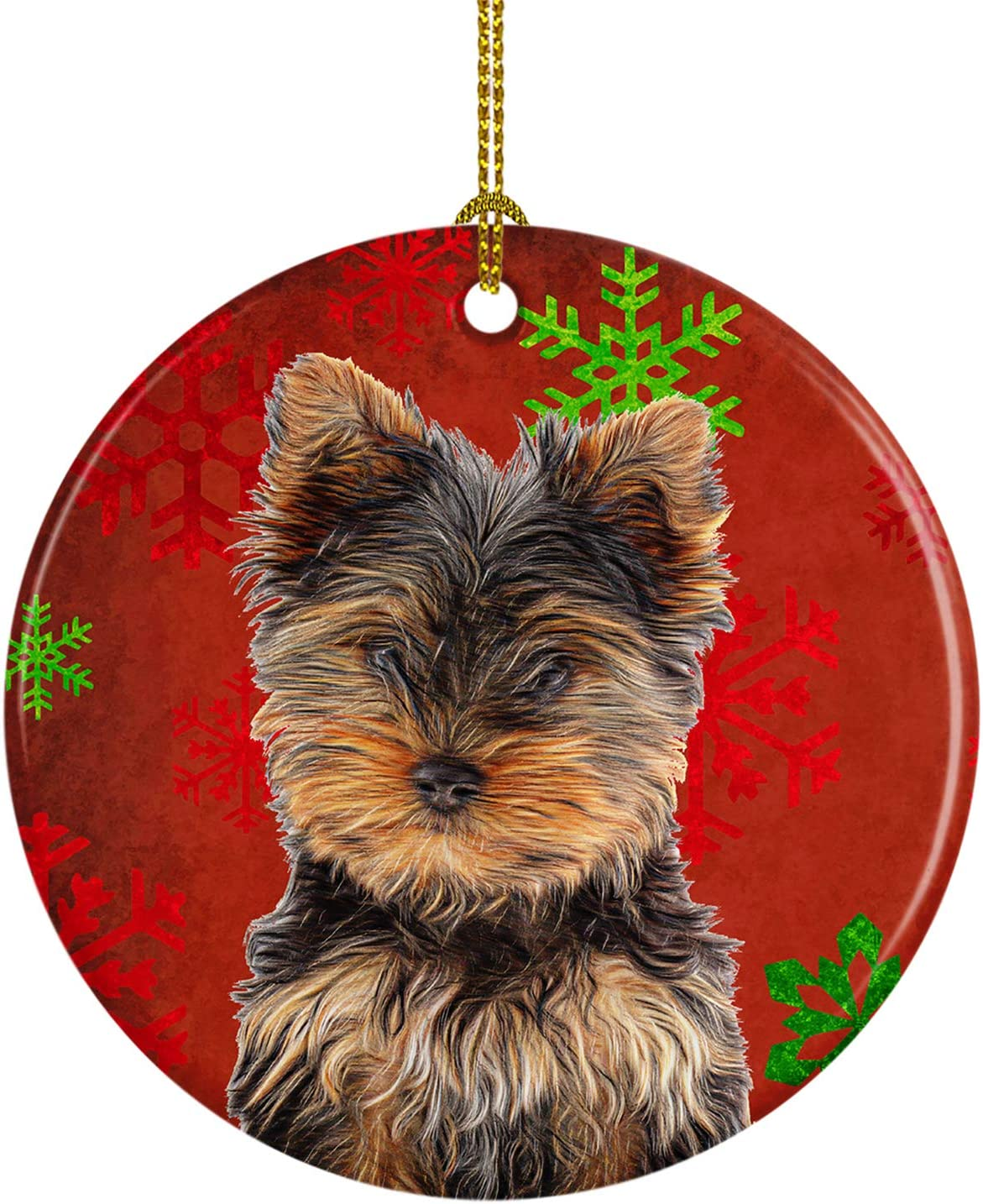 Caroline's Treasures KJ1188CO1 Red Snowflakes Holiday Christmas Yorkie Puppy/Yorkshire Terrier Ceramic Ornament, 3 in, Multicolor