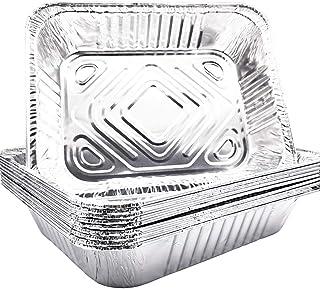 "10 Pack - 9""x 13"" Aluminum Pans Disposable Aluminum Foil Meal Prep Cookware, Sturdy Half Size Deep Steam Table Pans for Ba..."