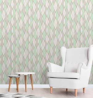 Apex Wave Geometric Wallpaper Green Fine Decor FD42173
