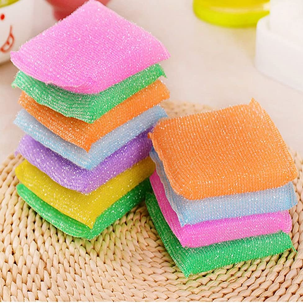 Kuuans 4Pcs Hot Sale Housekeeping Household Cleaning Tools for Kitchen Bathroom Kitchen Accessories Cleaning Cloth Nonstick Oil Scouring Pad Bowl Cloth Sponge Brush