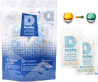 Dry & Dry 20 Gram [15 Packs] Premium Quality Food Safe Orange Indicating(Orange to Dark Green) Mixed Silica Gel Packets - Rechargeable(FDA Compliant) Silica Packets for Moisture