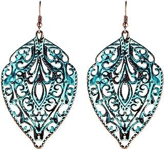 Patina Copper-Tone Metal Filigree Dangle Earrings