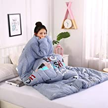 Lazy Quilt Blanket with Sleeves, Wearable Quilt Blanket, Multifunction Throw Blanket, Polyester TV Blanket for Couch, Sofa...
